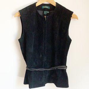 Danier 90s leather suede tie waist zip up vest top